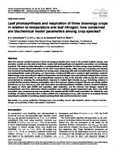 Leaf photosynthesis and respiration of three