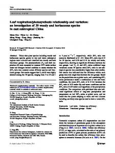 Leaf respiration/photosynthesis relationship and variation: an ...