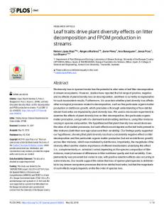 Leaf traits drive plant diversity effects on litter decomposition ... - PLOS