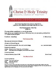 Leaflet for Sunday, September 9, 2012 - Christ & Holy Trinity Church