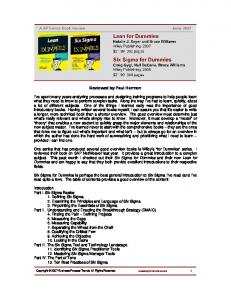Lean for Dummies and Six Sigma for Dummies