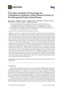 Lean Mass and Body Fat Percentage Are Contradictory ... - MDPI