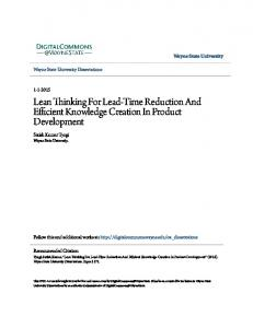 Lean Thinking For Lead-Time Reduction And Efficient
