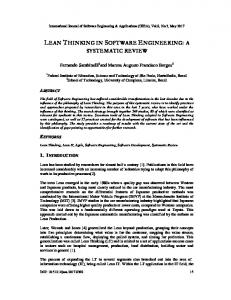 lean thinking in software engineering: a ... - Aircc Digital Library