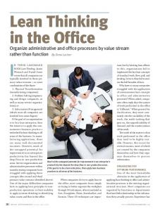 Lean Thinking in the Office - Change Management Associates