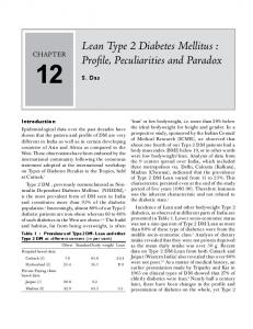 Lean Type 2 Diabetes Mellitus : Profile
