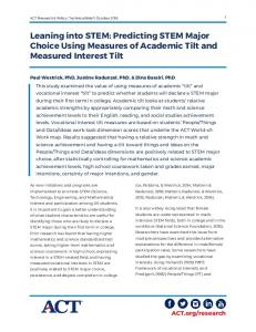 Leaning into STEM: Predicting STEM Major Choice Using ... - ACT