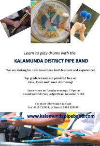 Learn to play drums with the - Kalamunda District Pipe Band