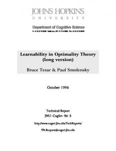 Learnability in Optimality Theory (long version)