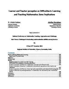 Learner and Teacher perception on Difficulties in Learning and ... - Eric