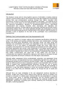 learnhigher oral communication literature review