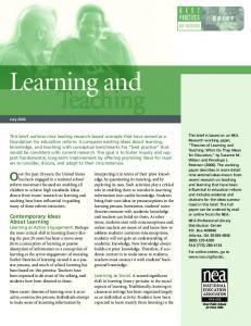 Learning and Teaching - NEA