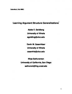 Learning Argument Structure Generalizations - CiteSeerX