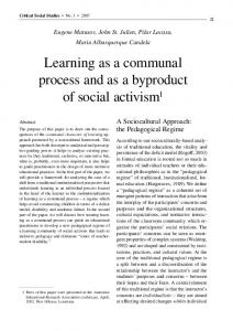 Learning as a communal process and as a ... - Eugene Matusov's
