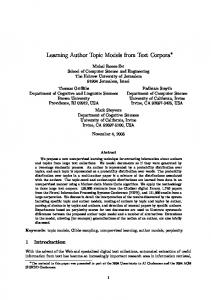Learning Author Topic Models from Text Corpora - UCI Datalab