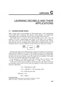 LEARNING DECIBELS AND THEIR APPLICATIONS