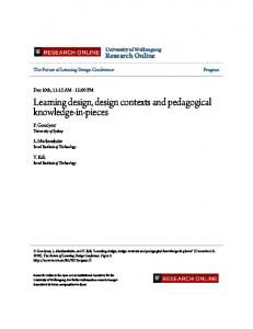 Learning design, design contexts and pedagogical ...