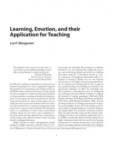 Learning, Emotion, and their Application for Teaching