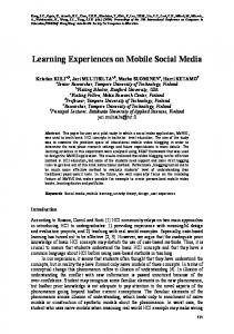Learning Experiences on Mobile Social Media - apsce