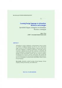 Learning foreign languages in teletandem: Resources and ... - SciELO