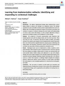 Learning from implementation setbacks - Wiley Online Library