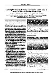 Learning From Lawsuits: Using Malpractice Claims ...