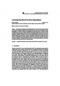 Learning Function-Free Horn Expressions - Springer Link