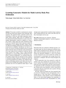 Learning Generative Models for Multi-Activity Body Pose Estimation