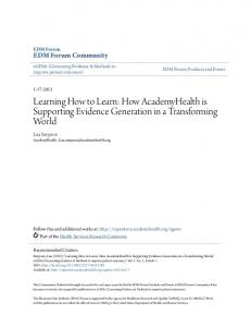 Learning How to Learn: How AcademyHealth is ...