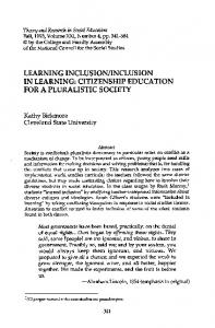 LEARNING INCLUSION/INCLUSION IN LEARNING