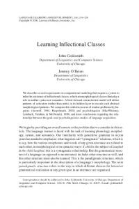 Learning Inflectional Classes - CiteSeerX