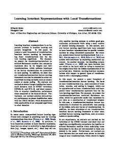 Learning Invariant Representations with Local ... - EECS @ Michigan