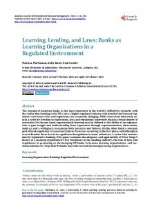 Learning, Lending, and Laws: Banks as Learning Organizations in a ...