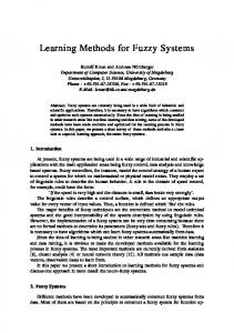 Learning Methods for Fuzzy Systems - Semantic Scholar