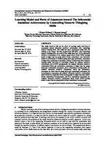 Learning Model and Form of Assesment toward The Inferensial ... - Eric