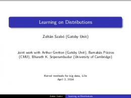 Learning on Distributions - UCL Discovery