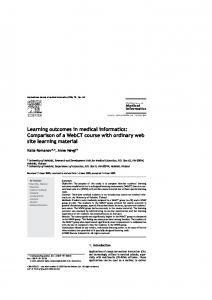 Learning outcomes in medical informatics - Semantic Scholar