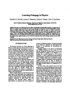 Learning Pedagogy in Physics - Physics Education Research Central