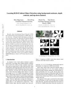 Learning RGB-D Salient Object Detection using background ...