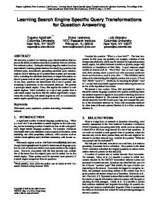 Learning Search Engine Specific Query ... - Semantic Scholar