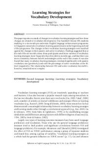 Learning Strategies for Vocabulary Development - National ...