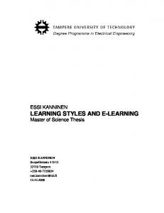 LEARNING STYLES AND E-LEARNING