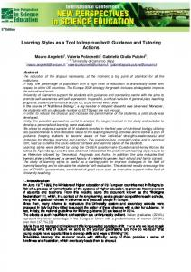 Learning Styles as a Tool to Improve both Guidance ...