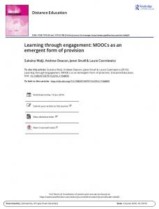 Learning through engagement: MOOCs as an ...