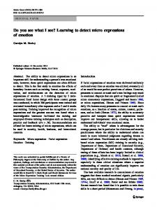 Learning to detect micro expressions of emotion - Springer Link
