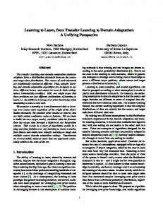 Learning to Learn, from Transfer Learning to Domain Adaptation: A ...