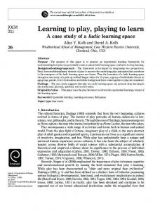 Learning to play, playing to learn