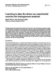 Learning to play the drum: an experiential exercise for management