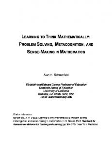 learning to think mathematically: problem solving, metacognition ...