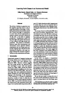 Learning Verb Classes in an Incremental Model - ACL 2014